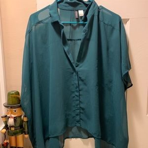 Green chiffon short sleeved button down